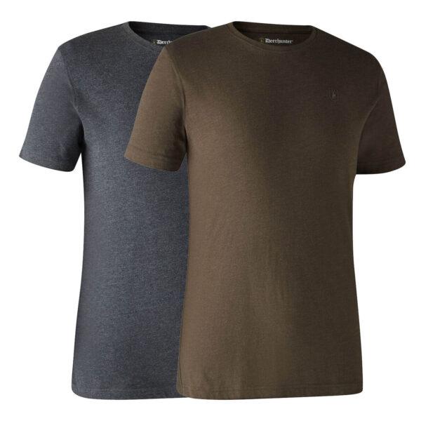 Deerhunter Basic T-Shirt, 2 pak Brown Melange Small