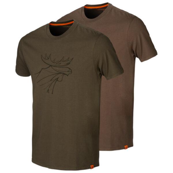 Härkila - Graphic T-shirt (2-pak) Medium Grøn/mørkebrun